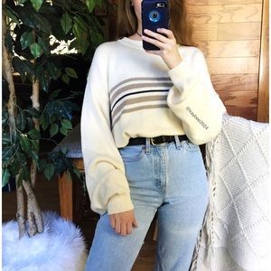 🌿 Vintage Varsity Striped Cream Slouchy Knit 🌿